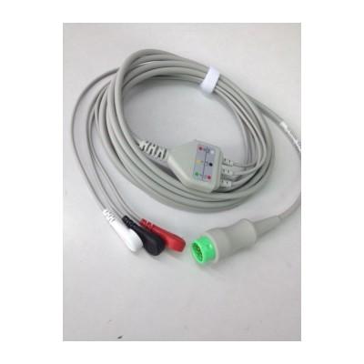 华商医疗EA6251B/12针5导一体式心电电缆/ AHA 按扣式/心电导联线