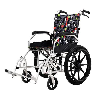 如意医疗 铝合金轻便折叠老人轮椅车 医用手动便携式手推车价格