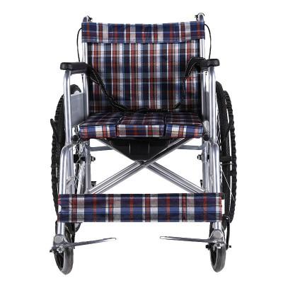 如意医疗 加厚钢管折叠带坐便轮椅车 家用老人四刹代步轮椅车招商