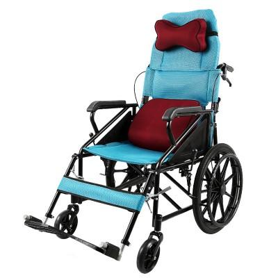 金松康柏 折叠靠背半躺式轮椅车 多功能便携老年手推车价格
