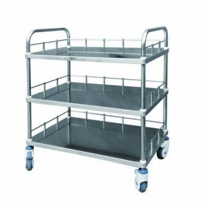 万康医疗 ST401不锈钢三层器械台车 移动式多功能器械推车价格