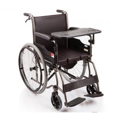 庞驰 鱼跃轮椅车H058B型 可折叠带便盆带餐桌板轮椅 钢管充气坐便椅报价